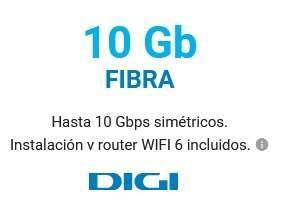 Fibra DIGI de 10GB por 30€