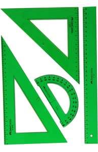 Pack escolar con escuadra, cartabón, regla y semicírculo, color verde