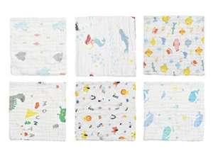 Pack de 6 Paños de muselina 100% algodón, 6 capas, extra suaves y absorbentes 25x50