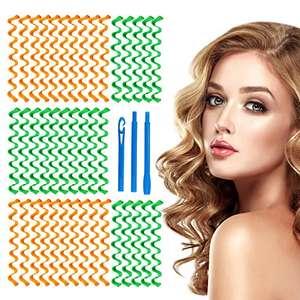 HALOVIE - Rulos de pelo con rizos de 40 piezas para peinado en espiral y 3 ganchos de estilo rizador de pelo sin calor para peinado de pelo
