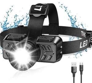 Linterna Frontal Led USB Recargable, Zoomable Luz y 4 Modos de Luz de 90° Ajustable, Impermeable