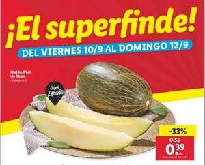 Melón piel de sapo origen España a 0,39€/Kg del 10 al 12 de septiembre