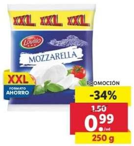 250gr Formato ahorro XXL de Mozzarella Lovilio (3,96€/Kg) del 10 al 12 de septiembre