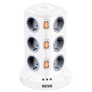 Regleta vertical Beva 15 tomas (12 enchufes y 3 USB) protección sobrecargas e infantil, luz nocturna ajustable, cable 2m, 2500W/10A