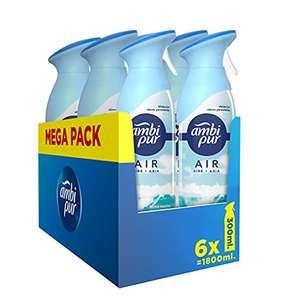 Pack 6 Ambipur Ambientador Spray. Fragancia Brisa Marina de x 300ml. Elimina los Malos Olores, Fragancia Brisa [RECURRENTE]