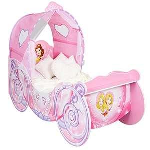 Cama Infantil con diseño de Princesas Disney con luces, Madera, Rosa, 160x87.5x136 cm