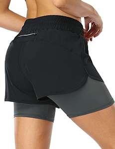 Pantalones Cortos de Running 2 en 1 para Mujer con Bolsillo con Cremallera Cordón Fitness Maratón Yoga Shorts