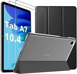 Funda con Vidrio Templado para Samsung Tab A7 10.4 2020, Funda para Samsung Galaxy Tab A7, Negro