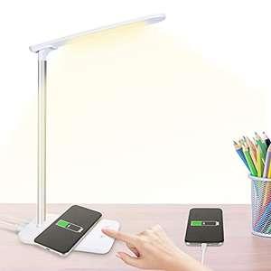 Lámpara de escritorio LED, con carga USB e inalámbrica