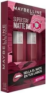 Maybelline New York, SuperStay Matte Ink, Cofre 2 Pintalabios Permanentes Líquidos de Larga Duración, Efecto Mate, Tono15 Lover