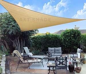 Toldo Vela de Sombra Triangular 3,6 x 3,6 x 3,6 m, protección Rayos UV y HDPE Transpirable para Patio, Exteriores, Jardín, Color Arena