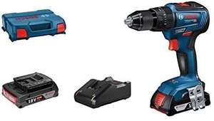 Bosch 06019H5305 GSB 18V-55 - Taladro Percutor, 2 Baterías x 2.0 Ah, 18V, 55 Nm, en L-Case, 18V, Azul