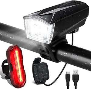 Luces Bicicleta Delantera y Trasera Linterna Bicicleta Recargable USB