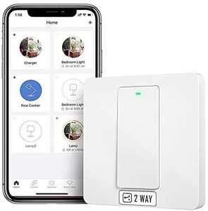 Interruptor de Pared Wi-Fi 2 Vías, 1 Canal, Compatible con Alexa, Asistente de Google y SmartThings