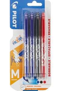 Pilot Frixion, Lote 4 bolígrafos borrables, 2 Azul, 1 Rojo y 1 Negro.