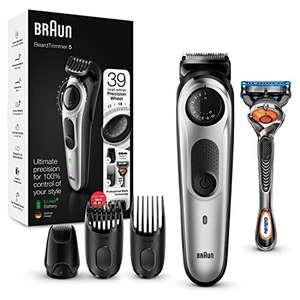 Braun Recortadora de Barba con Gillette Fusion 5 ProGlide Maquinilla de Afeitar Hombre, 2 Cabezales y 39 Ajustes de Longitud, BT 5265