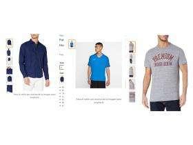 Camisa y camisetas para hombre en tallas S, M y XL.