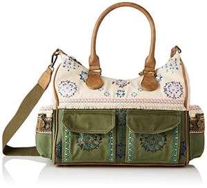 Desigual Fabric Shoulder Bag, Bolso Bandolera. para Mujer, Verde