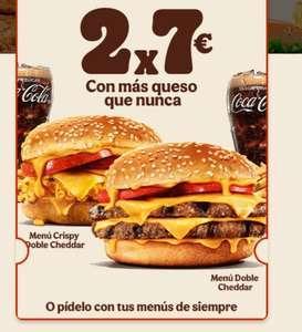 Vuelve el 2x7 euros a Burger King (Menú Crispy Doble Cheddar y Menú Doble Cheddar)
