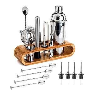 Juego coctelería de acero inoxidable 15 piezas expositor incluido para Bar, Hogar Mezclar Bebidas