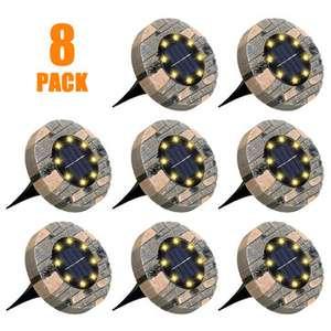Paquete de 8 luces solares para suelo GLIME 8 discos LED - Desde España