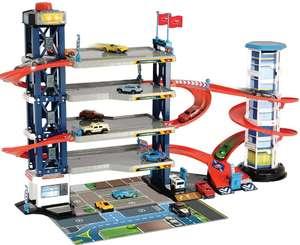 Garaje Aparcamiento, 4 Niveles, Ascensor, 4 vehículos de Die-Cast, 1 helicóptero, luz y Sonido,
