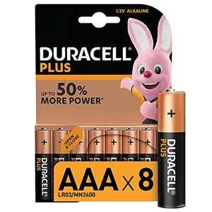 Duracell - Plus AAA, Pilas Alcalinas (paquete de 8) 1.5 Voltios LR03 MN2400