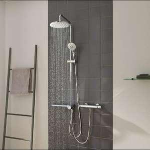 Columna de ducha con ABS de mano, 3 tipos de chorros, cabezal redondo 23x23cm cromado