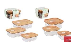 Pack de 3 Recipientes herméticos de vidrio con tapa de bambú