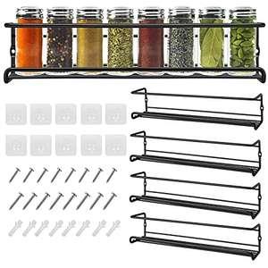 Especiero Cocina Pared, Set 4 Estante Cocina de Metal Organizador Especias Adhesivo Sin Agujeros