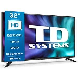 TD Systems K32DLG12H - Televisores 32 Pulgadas HD, 800 PCI Hz, 3X HDMI, USB Grabador Reproductor, DVB-T2/C/S2