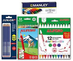 Lote material escolar Alpino: 12 lápices de colores + 12 rotuladores Double Double + 12 lápices de grafito + 15 ceras Manley