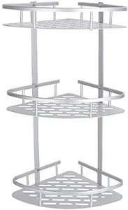 Estantería de Esquina 3 Piezas para Baño Ducha de Aluminio Estante Triangular con Ganchos Instalación Perforada