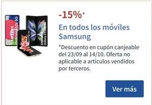 15% SAMSUNG en cupón canjeable, en móviles, tables,wearables, y auriculares bluetooth