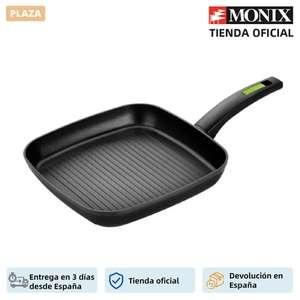 Monix Green - Sarten Grill con rayas de aluminio forjado de 28 cm. Para cocina de gas, vitrocerámica e inducción