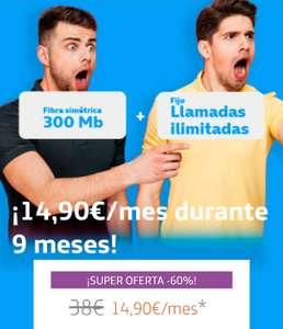 Movistar Conecta 9 meses a 14,90€: Fibra óptica simétrica 300Mb, ADSL o Radio + fijo con llamadas SIN PERMANENCIA