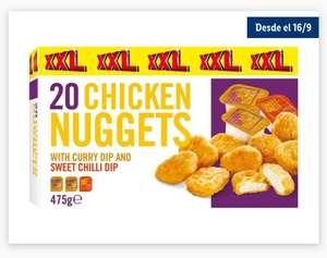 20 Nuggets de pollo XXL + 3 salsas curry y chilli solo 1'99€