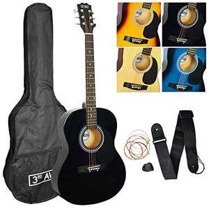 Pack de guitarra acústica de tamaño estándar 4/4 con juego de cuerdas de acero para principiantes con funda de transporte