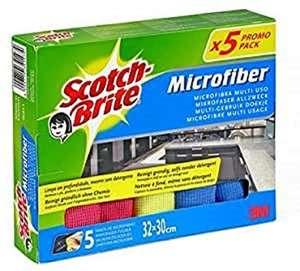Scotch-Brite Bayeta de Microfibra, Paño multiusos, Quita el polvo y la suciedad, Lavable a máquina (5 bayetas)