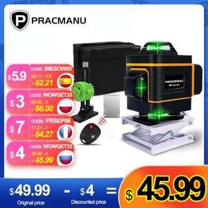 PRACMANU-Nivel láser, herramienta de nivelación 4D de 16 líneas