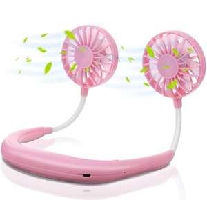 Ventilador Manos libres,de Banda para el Cuello,USB Recargable,con Doble Cabeza Giratorio de 360°