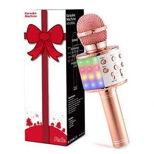 Micrófono Karaoke Bluetooth, Microfono Inalámbrico Karaoke Portátil con luz LED