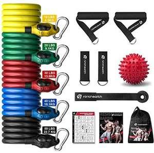 Bandas de Resistencia, Bandas Elasticas Musculacion 150 lbs, 5 Tubos de Látex, con Asas, Correas de Tobillo y Anclaje para Puerta