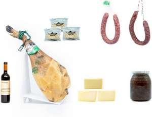 Lote paleta cebo campo 5~5,5kg + 3 cuñas de queso + chorizo y salchichón ibérico + miel + vino + panecillos + envío gratis