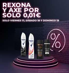 Desodorantes Axe y Rexona a 0.01€ más gastos de envio