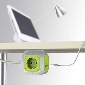 Base múltiple CUBO 4T + 2 USB color verde, cable 1,5mts Similar Powercube