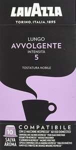 Lavazza Cápsulas de Café Compatibles con Nespresso, Lungo Avvolgente, 100% Arábica, Paquete de 10 Cápsulas, compra recurrente 1,70€