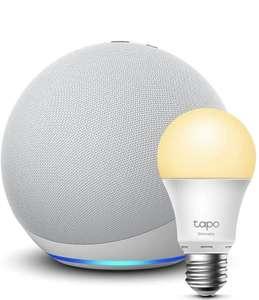 Echo (el grande, 4.ª generación con zigbee y más altavoces) | Sonido de alta calidad | Blanco + TP-Link Tapo Bombilla Inteligente (E27)