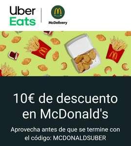10€ de descuento en tu primer pedido a McDonalds (mínimo 15€)