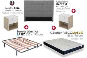 Pack Cabecero, 2 mesitas, Somier y Colchón visco 135×190cm